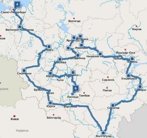 Ё-Вперёд - ё-мобиль тур по России (по карте Rambler.ru)